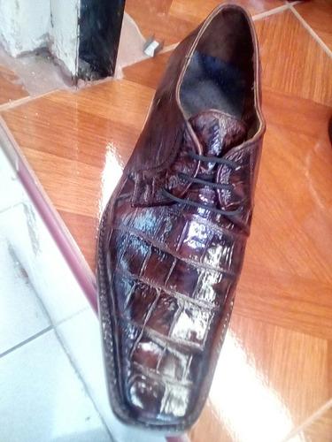 Zapato De Exotico Cocodrilo De Una Sola Pza Al Frente 044a60f04ed2a
