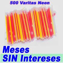 Set D 500 Varitas Varios Colores Efecto Neon Mas 500 Seguros
