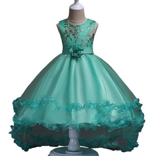 Vestido Para Niña Fiesta Elegante Cola De Pato Verde En