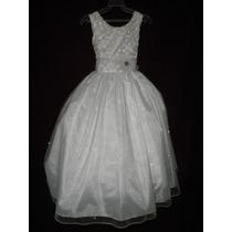 Nuevo Vestido Blanco Brilloso Fiesta Comunion Princesa Paje