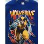 Playera Manga Larga Azul Vintage - Wolverine - Talla Xg/40