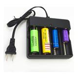 Cargador Universal 4 Baterías Pilas 18650 14500 16340 26650