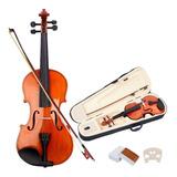 Violin 4/4 Acustico Con Arco, Brea, Puente Y Estuche