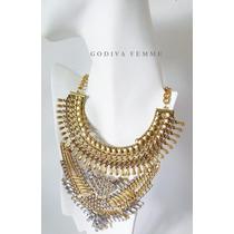 Maxi Collar Vanguardista Color Oro Viejo Marca Godiva Femme