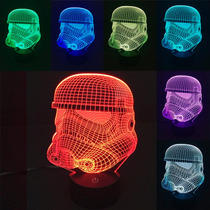 Lámpara Led Rgb 3d Acrílico Stormtrooper Star Wars Video