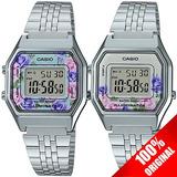 57c7bbd62eba Reloj Casio Retro Dama La680 Plata Flores - 100% Original