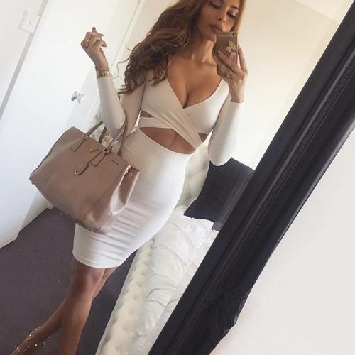 Vestido Corto Pegado Casual Escote Moderno Blancoenvio En