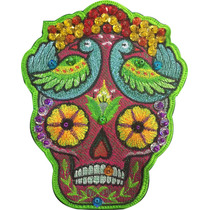 Frida Calavera Floreada Verde Parches Bordados Chaquira Moto