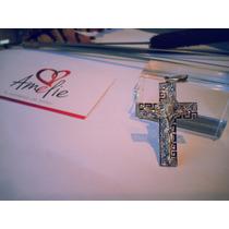 Hermoso Cristo Con Grecas En Oro De 10k Con Zirconias Hm4.