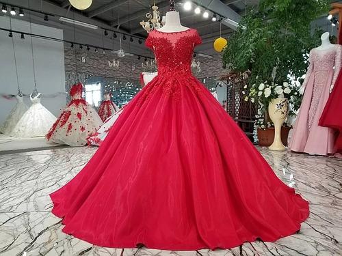 Vestido De Xv Años Rojo Satin Colección 2020 En Venta En San