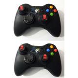 2 Piezas Funda Silicon Negra Control Xbox 360 Grips Calavera