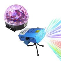 Kit Luces Disco Audio Rítmico Dj Efectos Bola Led Y Lasermin