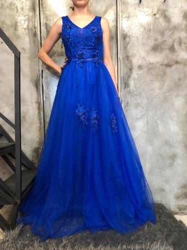 2674a8a0f Vestido Largo Con Aplicaciones Fucsia Azul Rey Y Verde