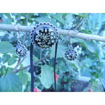Dije/ Prendedor & Aretes Flor Natural Encapsulada -10%