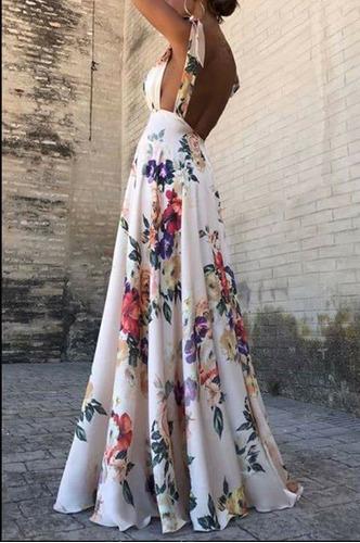 Sexy Vestido Largo Floreado Escote Espalda Fiesta Noche En