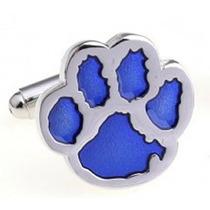 Mancuernillas Huella De Perro Plateado Con Azul Envio Gratis
