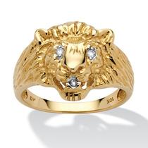 Anillo Cabeza León Oro 10k C/acento Diamante Hombre Talla 13