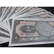 Billete 1 Un Peso Calendario Azteca 5 Nuevos Consecutivos