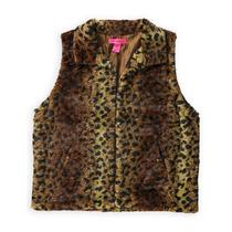 Betsey Johnson De Las Mujeres Leopardo Faux Piel Chaleco