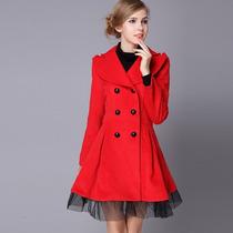 Abrigo De Mujer Japones Rojo Elegante