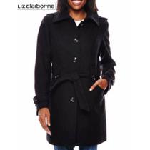 Envio Abrigo L Liz Claiborne Lana Negro Capucha Removible
