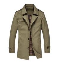 Abrigo Blazer Saco Color Khaki Trench Casual Para Caballero