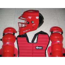 Arreos Rojo Catcher Con Casco Tipo Hokey