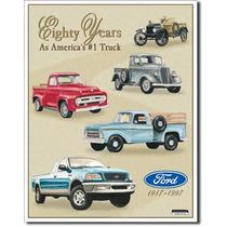Poster Metalico Cartel Afiche Anuncio Ford Pick Ups 80 Años