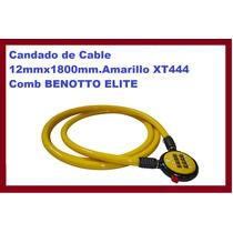Candado De Cable 12mmx1800mm.amarillo Xt444 Comb Benotto Eli