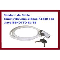 Candado De Cable 12mmx1800mm.blanco Xt430 Con Llave Benotto