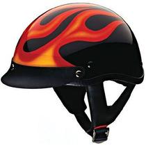 Casco Chopper Tipo Harley Harlero Beanie Negro/flamas