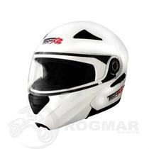 Casco Modular Para Motociclista !!! Blanco Brillante Talla M