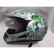 Casco Profesional Bmx/ Cross Graffiti Tatoo Design Black
