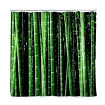 Cortina Diseño Bambú Para Baño Decorativa Bamboo Naturaleza