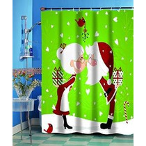 Clavel Casas Kissing Tela Navidad Santa Cortina De Ducha