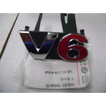 Vw Golf Jetta Passat A4 Logo Parrilla V6 Cromo/rojo