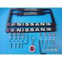 Emblemas Porta Placas Nissan Pivotes Seguridad Tapones Kit