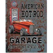 Poster Metalico Litografia Lamina Decorativa Hot Rod Garage