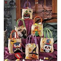 Conjunto De 6 Embellecido Arpillera De Halloween Bolsas Trat