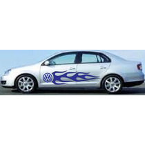 Sticker Lateral Flama Con Logo Vw Vinil Tuning Jetta Bora