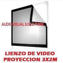 Lienzo De Pantalla Para Proyeccion Delantera O Trasera 3x2m.