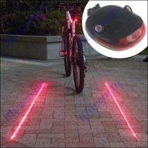 Luz L E D Trasera Para Bicicleta Con Laser Lateral