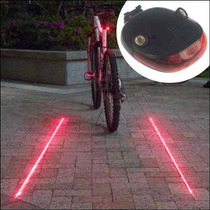 Lampara De Seguridad Bicicleta Con Laser Y Luz Led Baterias
