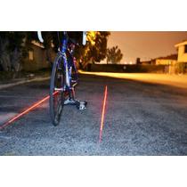Lámpara Trasera Luz Led Láser Carril Bicicleta Seguridad