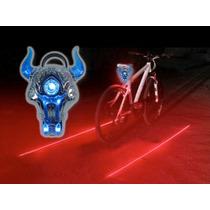 Luz Trasera Azul Para Bicicleta Recargable Con Laser Rojo