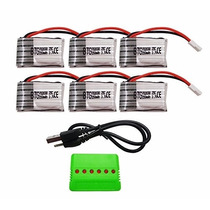 Kit Multicargador 6 Baterías Syma + 6 Baterías 3.7v 600mah