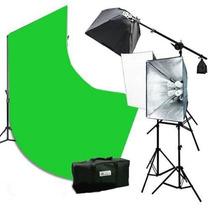 Estudio Fotografico 2400 Watts Video 2 Softboxes Fondo 10x20