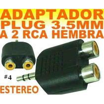 Adaptador Plug 3.5mm A 2 Rca Hembra Estereo Mp3 Mp4 Ipod #4