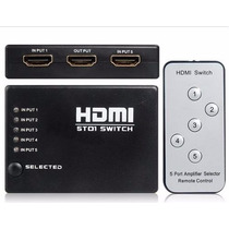 Switch Conector Selector Hdmi 5 En 1 Control Remoto Full Hd