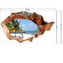 Vinilo Decorativo 3d Agujero Playa Pared Sticker